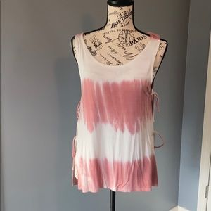 Beachy/Work-Out Tank, Tie-Dyed, MED, Pink/White